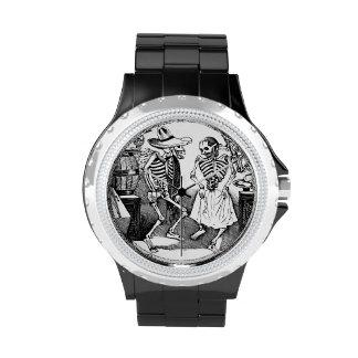 Esqueletos mexicanos frescos del baile relojes de mano