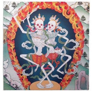 Esqueletos que bailan arte budista tibetano servilletas imprimidas