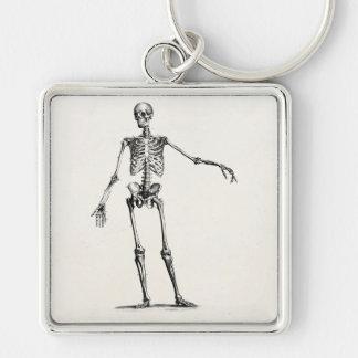 Esqueletos retros esqueléticos de la anatomía de l llavero cuadrado plateado