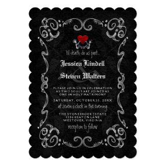 """Esqueletos y corazón de la MUERTE del boda de Invitación 5"""" X 7"""""""
