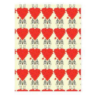 Esqueletos y tarjetas del día de San Valentín dive Postal