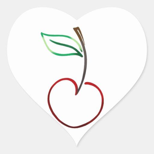 Esquema alegre de la cereza en blanco pegatina en forma de corazón