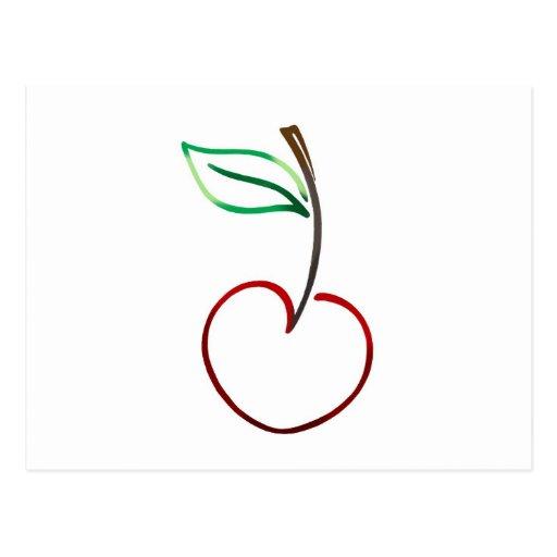 Esquema alegre de la cereza en blanco postal