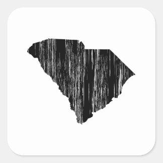 Esquema apenado del estado de Carolina del Sur Pegatina Cuadrada
