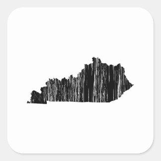 Esquema apenado del estado de Kentucky Pegatina Cuadrada
