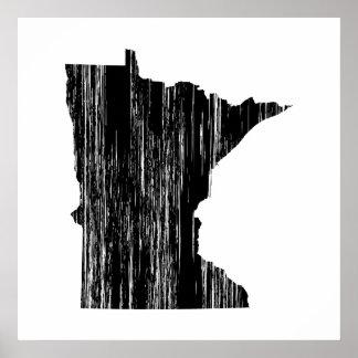Esquema apenado del estado de Minnesota Poster