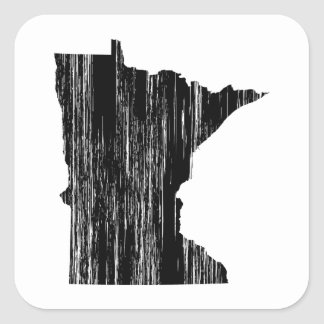 Esquema apenado del estado de Minnesota Calcomanias Cuadradas