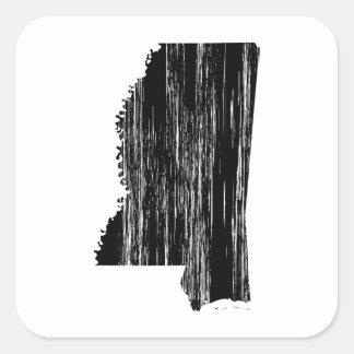 Esquema apenado del estado de Mississippi Pegatina Cuadrada