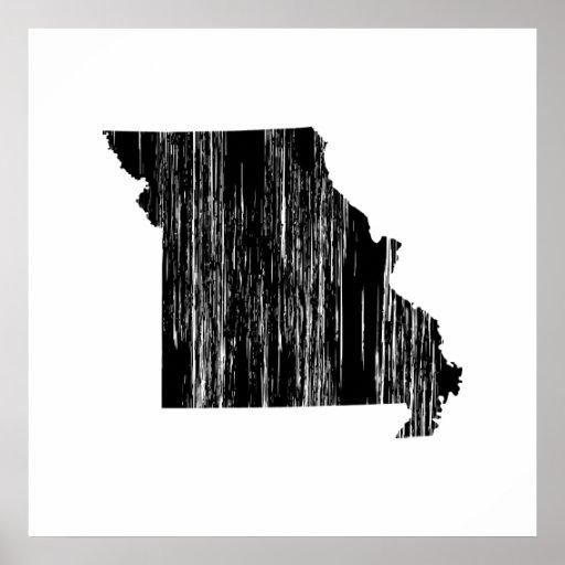 Esquema apenado del estado de Missouri Poster