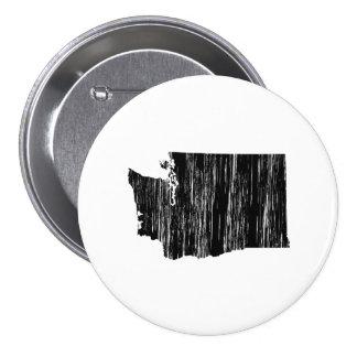 Esquema apenado del estado de Washington Pin Redondo De 3 Pulgadas
