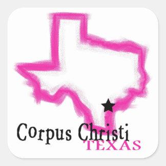 Esquema artístico del estado de Corpus Christi Pegatina Cuadrada