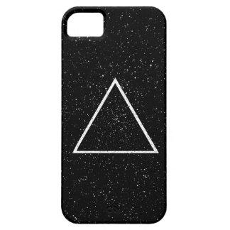Esquema blanco del triángulo en fondo negro de la funda para iPhone 5 barely there