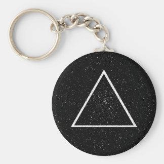 Esquema blanco del triángulo en fondo negro de la  llavero redondo tipo pin