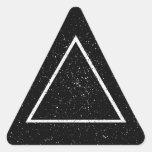 Esquema blanco del triángulo en fondo negro de la pegatina triangulo personalizadas
