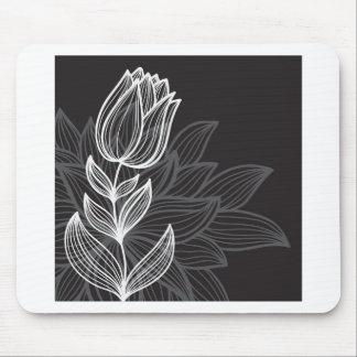 Esquema blanco y negro de la flor alfombrillas de raton