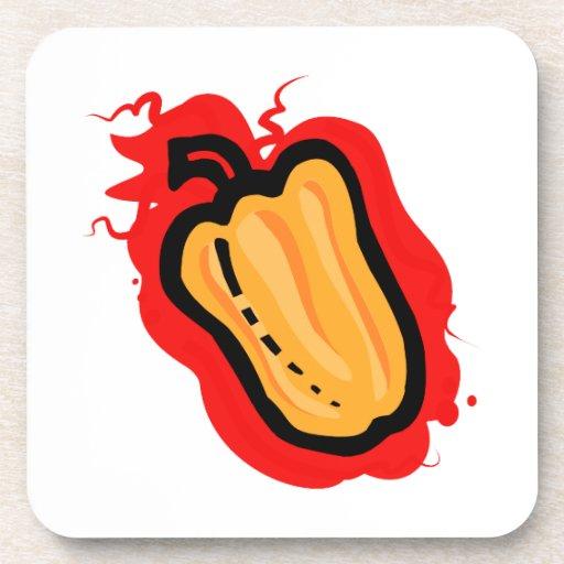 Esquema cada vez mayor rojo del pimiento picante a posavasos de bebidas
