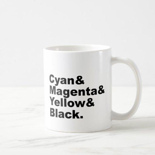 Esquema de color amarillo magenta ciánico del taza