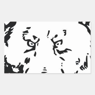 Esquema de la cara del oso pegatina rectangular