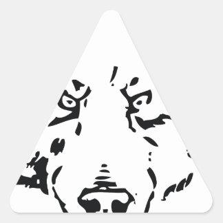 Esquema de la cara del oso pegatina triangular