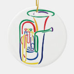 Esquema de la tuba adorno navideño redondo de cerámica