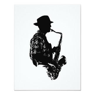 Esquema de la vista lateral del jugador de saxofón invitaciones personales
