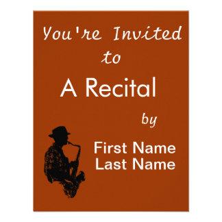 Esquema de la vista lateral del jugador de saxofón invitacion personalizada