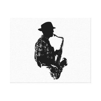 Esquema de la vista lateral del jugador de saxofón impresión de lienzo