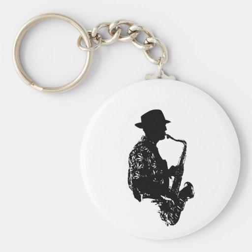 Esquema de la vista lateral del jugador de saxofón llavero personalizado