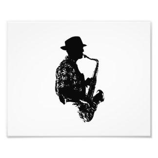 Esquema de la vista lateral del jugador de saxofón arte con fotos