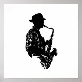 Esquema de la vista lateral del jugador de saxofón póster