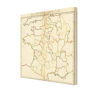 Esquema de los ríos de Francia Lona Envuelta Para Galerias