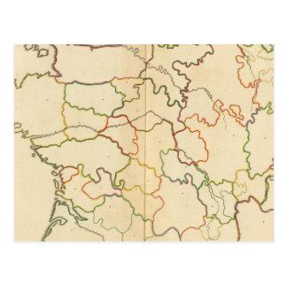 Esquema de los ríos de Francia Postales