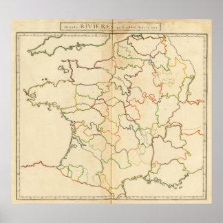 Esquema de los ríos de Francia Póster