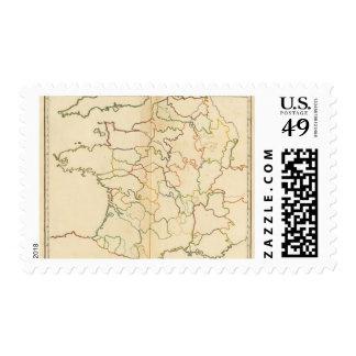 Esquema de los ríos de Francia Sello Postal