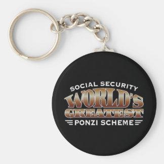 Esquema de Ponzi de la Seguridad Social Llavero Redondo Tipo Pin