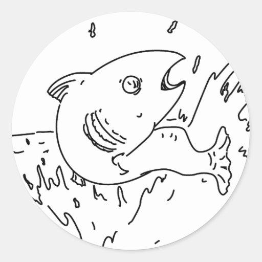 Esquema de salto de los pescados pegatina redonda