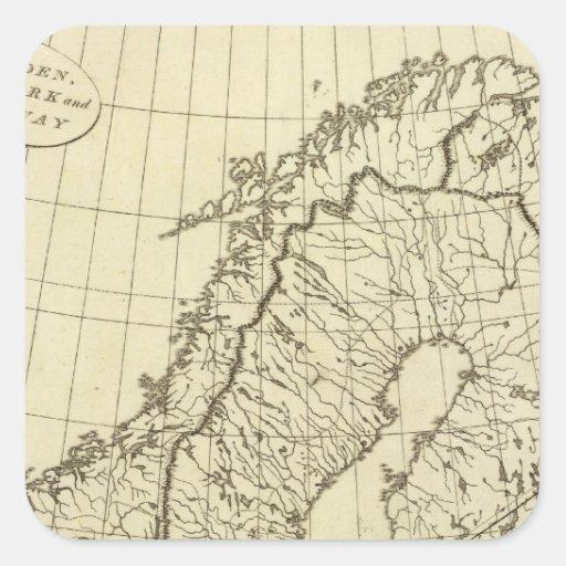 Esquema de Suecia, Dinamarca, Noruega Pegatina Cuadrada