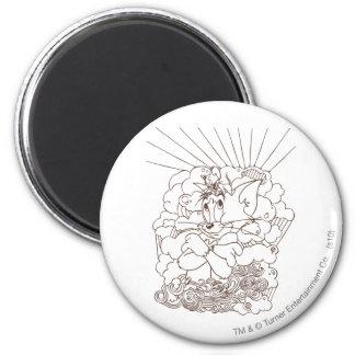 Esquema de Tom y Jerry Imán Redondo 5 Cm