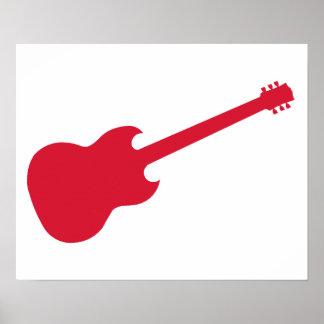 Esquema de una guitarra roja poster
