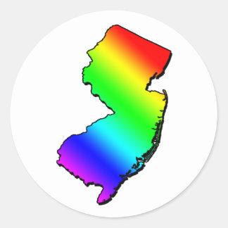 Esquema del arco iris de New Jersey Pegatina Redonda