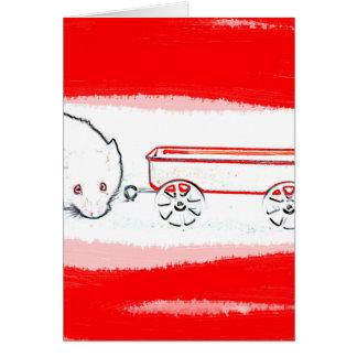 esquema del carro del ratón con el animal lindo tarjeta de felicitación