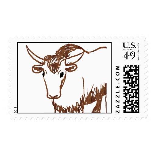 Esquema del dibujo de los yacs, textura de la sello postal