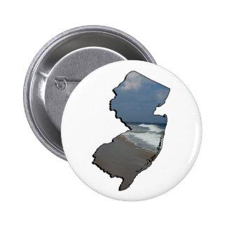 Esquema del estado de la orilla de New Jersey Pin Redondo De 2 Pulgadas