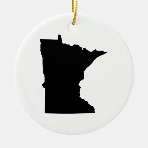 Esquema del estado de Minnesota Adorno Navideño Redondo De Cerámica