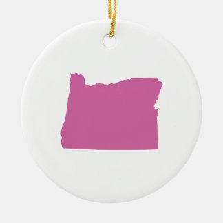 Esquema del estado de Oregon Adorno Navideño Redondo De Cerámica