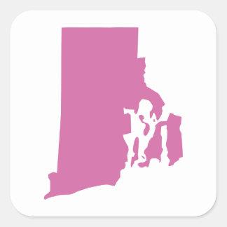 Esquema del estado de Rhode Island Pegatina Cuadrada