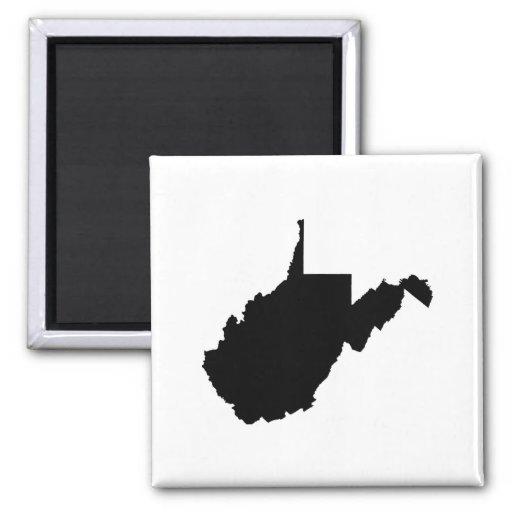 Esquema del estado de Virginia Occidental Imán Cuadrado