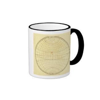 Esquema del hemisferio del este tazas de café