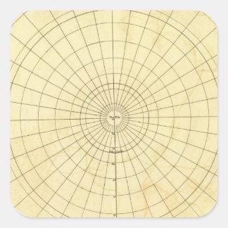 Esquema del hemisferio meridional pegatina cuadrada