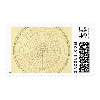 Esquema del hemisferio meridional timbre postal